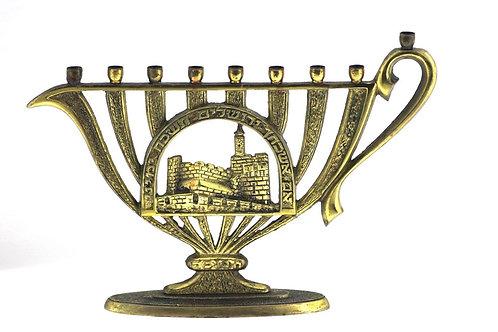 """וינטג' יודאיקה חנוכיה מנורה """"סברה"""" מפליז נוף ירושלים ישראל"""