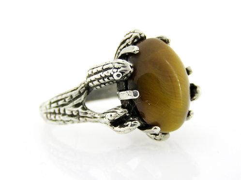 טבעת וינטג' מכסף סטרלינג 925 משובצת באבן טייגר'ס איי בעיצוב פסל מודרני ישראל 40