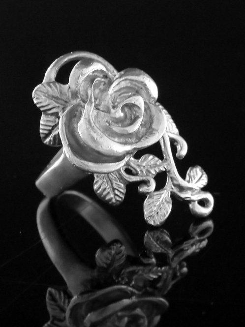 וינטג' טבעת מכסף סטרלינג כסף 925 בעיצוב ורד עבודת יד ישראל '80  aaronjewelryart.com