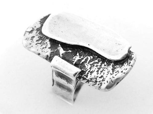 טבעת וינטג' גדולה מכסף סטרלינג 925 בעיצוב מודרני ישראל 50 מידה 6/12 aaronjewelryart.com
