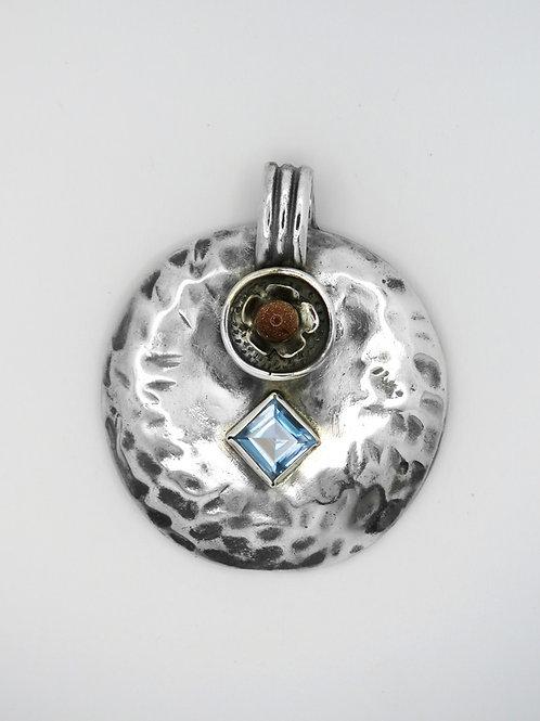 תליון גדול וינטג' מכסף סטרלינג 925 עיצוב מודרניסטי קוביסטי אבנים שונות שנות-'60 aaronjewelryart.com