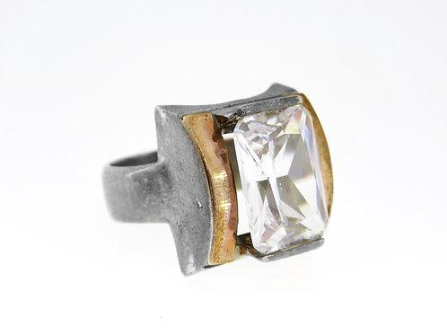 Vintage Sterling Silver 925 Ring clear Handmade Italy 70' aaronjewelryart.com