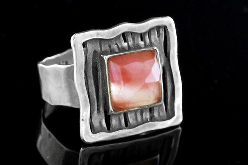 70' טבעת וינטג' מכסף סטרלינג 925 ורוז קוורץ בעיצוב מודרני עבודת יד ישראל שנות ה  aaronjewelryart.com