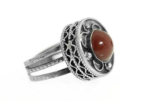 טבעת וינטג' מכסף סטרלינג 925 אבן אגת אדום פיליגרין מתכווננת גדולה מרשימה ישראל '50  aaronjewelryart.com