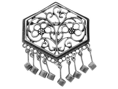 סיכה וינטג' מכסף סטרלינג 925 בעיצוב קלאסי צימחי בעבודת יד ישראל שנות ה '60 aaronjewelryart.com
