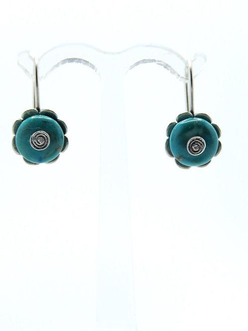 Vintage earrings sterling silver 925 inlaid with turquoise handmade modernist flower design aaronjewelryart.com