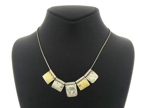 שרשרת וינטג' שילוב של זהב 9 קראט וכסף סטרלינג 925 בעיצוב מודרני ישראל שנות ה '80 aaronjewelryart.com