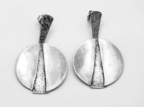 Vintage earrings sterling silver 925 modernist design handmade  Israel '70s aaronjewelryart.com