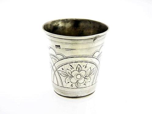 עתיק כוס כסף סטרלינג 925 רוסי 84 חריטת פרחים צימחי רוסיה