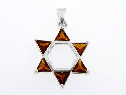 תליון וינטג' מכסף סטרלינג 925 בעיצוב מגן דוד המשובץ באבן גארנט ישראל '80