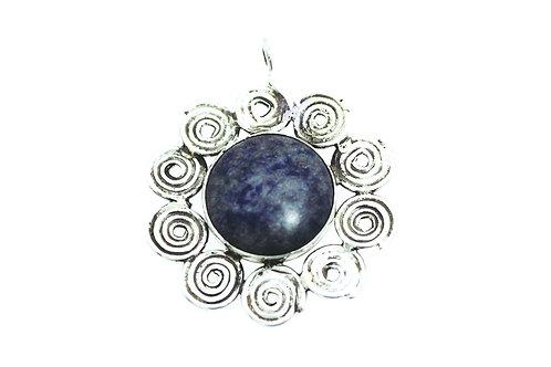 תליון לב כסף סטרלינג וינטג '925 עם אבן טבעית גדולה ישראל 60 aaronjewelryart.com
