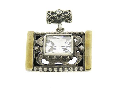 תליון וינטג' מכסף סטרלינג 925 ופסי זהב בעיצוב מודרני בעבודת יד ישראל שנות ה '70 aaronjewelryart.com