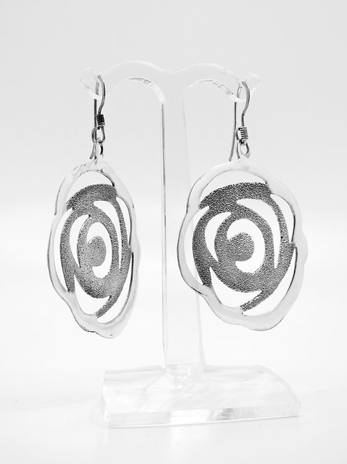 Vintage earrings sterling silver 925 sawn by hand modernist design Israel '90 aaronjewelryart.com