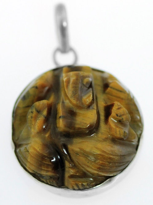 תליון קמע וינטג 'מכסף סטרלינג 925 משובץ עם אבן עין נמר מגולפת יפה בעבודה יד aaronjewelryart.com