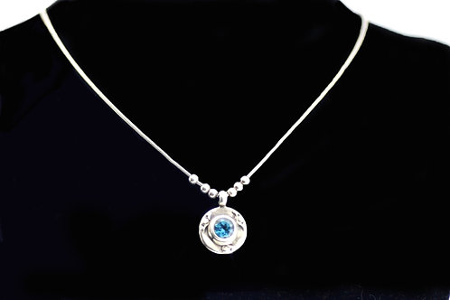 Vintage Sterling silver 925 Blue ston modernist Artisan Necklace chain Italy 70'