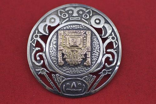 וינטג' תליון/סיכה מעוצבת בשילוב זהב 18 קרט וכסף סטרלינג 925 פרו '50