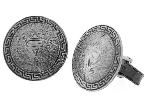 חפתים וינטג' מכסף סטרלינג  925 מעוצבים כמגן מקסיקו בעבודת יד שנות ה 50 aaronjewelryart.com