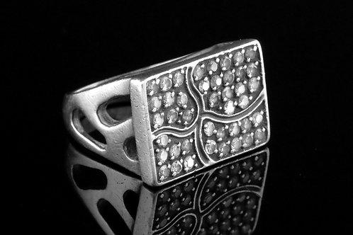 טבעת וינטג' מכסף סטרלינג 925 בעיצוב מודרני עבודת יד משובץ 42 אבנים רוסיה רוסית 90   aaronjewelryart.com