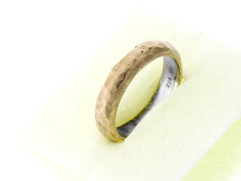 טבעת וינטג 'מכסף סטרלינג 925 זהב 9 קראט בעיצוב מודרני עבודת יד ישראל '80 aaronjewelryart.com