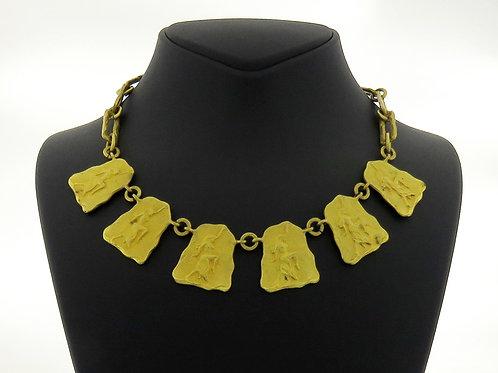 שרשרת וינטג 'תחייה מצרית פליז מצופה זהב מצרים '20 aaronjewelryart.com