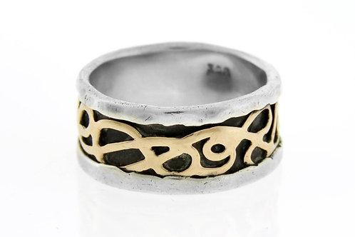 טבעת וינטג' מכסף סטרלינג 925 וזהב 9 קרט בעיצוב מודרני עבודת יד ישראל 90  aaronjewelryart.com