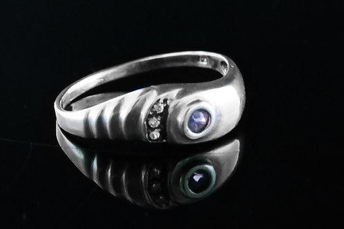 60' טבעת וינטג' מכסף סטרלינג 925 בעיצוב מודרני עם אמטיסט וזירקון עבודת יד ישראל aaronjewelryart.com