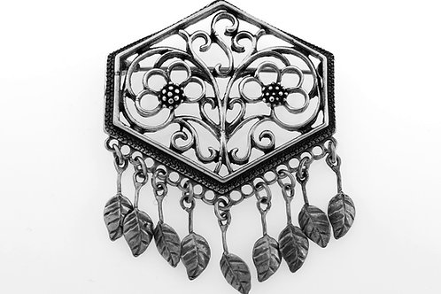 Vintage sterling Silver 925 Filigree with leaves Brooch Pin handmade Israel 60' aaronjewelryart.com