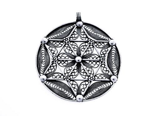 Vintage Sterling Silver 925 large pendant filigree David star Handmade Israel 50'    aaronjewelryart.com
