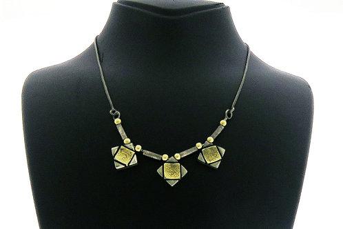 Vintage Modernist link Necklace 925 Sterling Silver & Gold Handmade Israel 80s aaronjewelryart.com