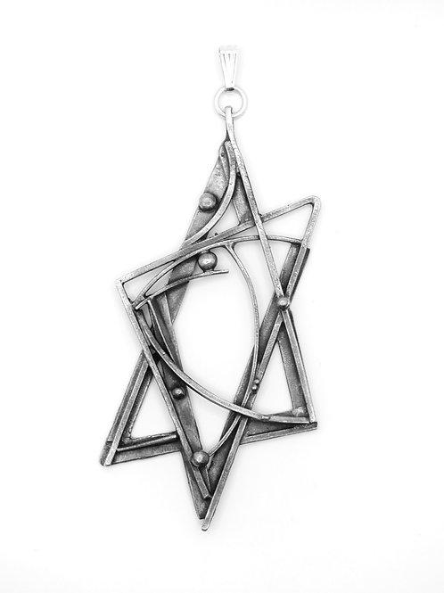 מגן דוד גדול וינטג' כסף סטרלינג 925 עיצוב מודרניסטי קוביסטי מיוחד ישראל ש - '60 aaronjewelryart.com