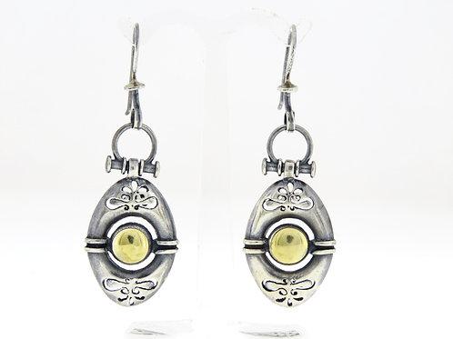 Vintage 925 silver earrings Modernust  Artisan hand made Israel 70'