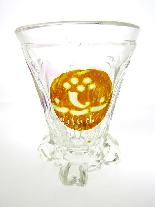 כוס קריסטל עתיקה נוצרית בליטוש יד עם חריטה  גרמניה מהמאה ה 19 aaronjewelryart.com