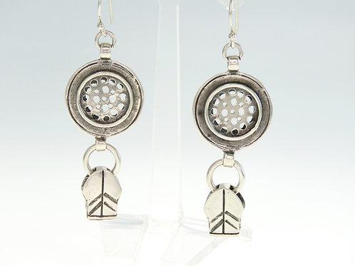 vintage earrings sterling silver 925 modernist design handmade  Israel 1990s aaronjewelryart.com