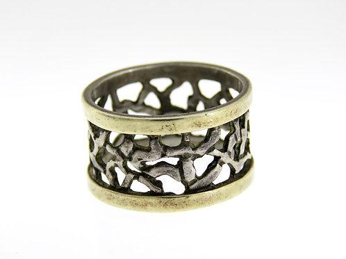 טבעת וינטג' מכסף סטרלינג 925 מעוצבת מודרני ישראל 70 ' בעבודת יד