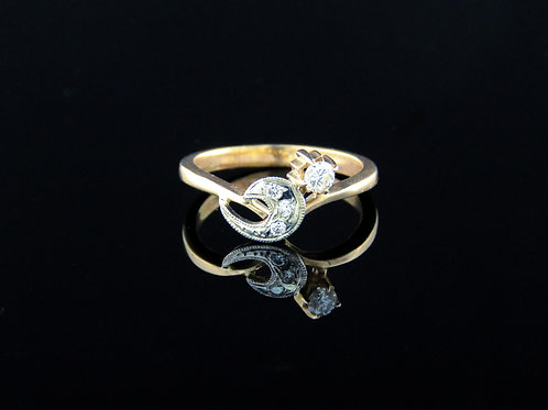 וינטג' טבעת יהלום אמיתי זהב קרט14 585 טבעת יהלום אמיתי בעבודת יד רוסיה רוסיה  aaronjewelryart.com