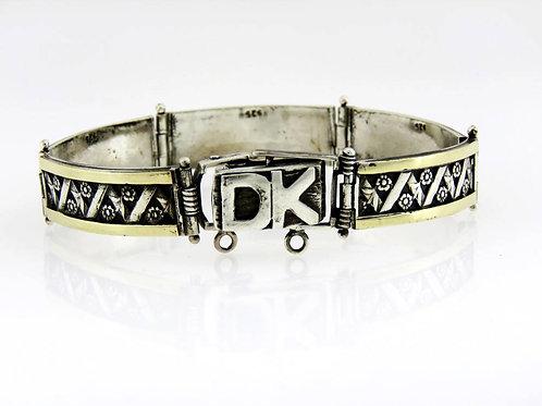 Vintage Sterling  Silver 925 gold stripse Artisan Bracelet  DK hand made 25.3 g