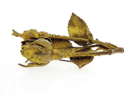 סיכה וינטג' מכסף סטרלינג 925 מצופה זהב בעיצוב ניצת ורד עבודת יד '70 aaronjewelryart.com