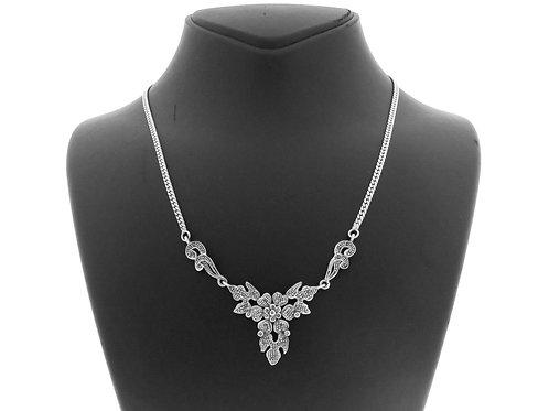 Vintage Sterling Silver 925 Modernist chain necklace Hematit Handmade Israel 70' aaronjewelryart.com