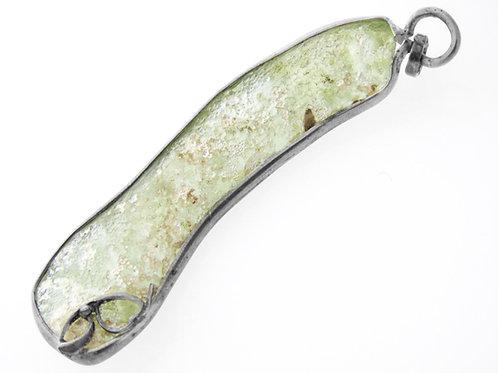 תליון וינטג' מכסף סטרלינג 925 משובץ עם זכוכית רומאית בעבודת יד ישראל שנות ה 60 aaronjewelryart.com