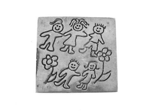 סיכה וינטג' מכסף סטרלינג 925 מעוצבת עם ילדים בנים בנות עבודת יד מקסיקו '70  aaronjewelryart.com