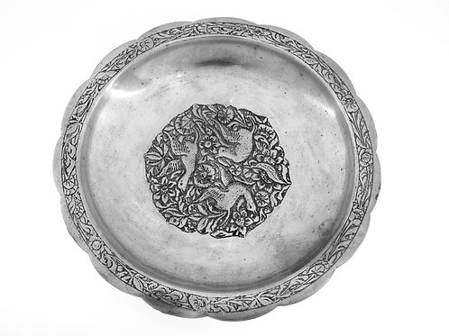 Vintage SILVER 800 Bowl Dish herbal and flying birds Germany  aaronjewelryart.com