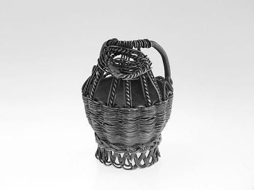 Antique silver saltware 84 handmade in the shape of a wicker straw basket Russia 19th-century aaronjewelryart.com