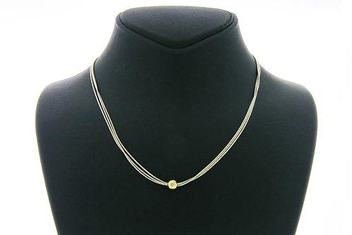 שרשרת וינטג' מכסף סטרלינג 925 וחרוז זהב תוצרת מגנוליה ישראל שנות ה - '90 aaronjewelryart.com