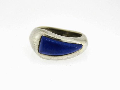 וינטג' טבעת משובצת אבן כחולה מכסף סטרלינג 925 מודרני שנות ה 60 'ישראל