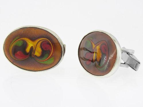חפתים וינטג' עשויים כסף סטרלינג 925 בשילוב אמייל שנותה'50 ישראל בעבודת יד aaronjewelryart.com