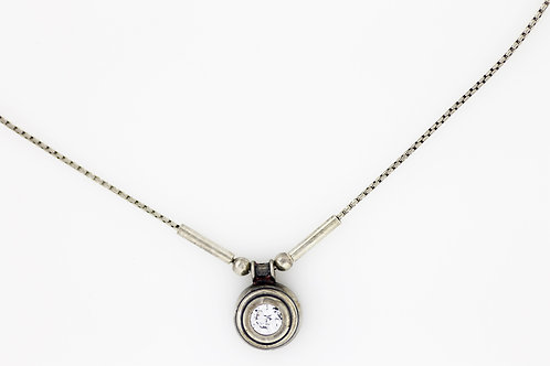 Vintage Sterling silver 925 delicate modernist Necklace chain pendant 90'