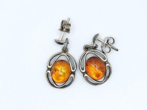 זוג עגילים וינטג' מכסף סטרלינג 925 וענברים מודרניסטי עבודת יד אומן ישראל - '90 aaronjewelryart.com