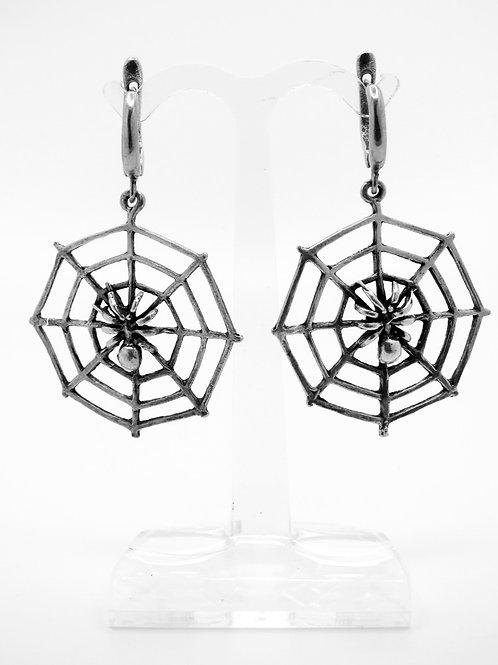 זוג עגילי וינטג' מכסף סטרלינג 925 עכביש על קורים aaronjewelryart.com