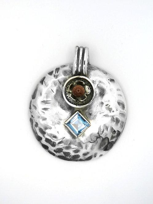 תליון גדול וינטג' מכסף סטרלינג 925 עיצוב מודרניסטי קוביסטי אבנים שונות שנות-'60