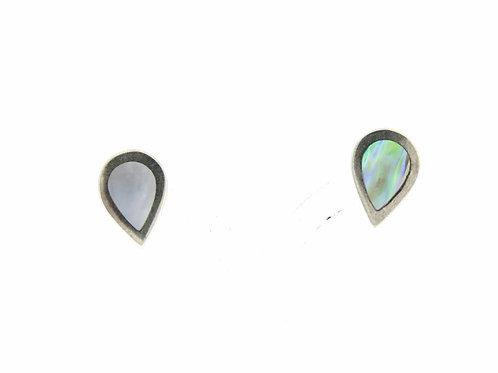 'וינטג' עגילים צמודים בצורת טיפה משובצים בצדף מכסף סטרלינג 925 ישראל 70